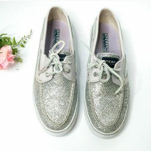 Sperry Silver Metallic Loafer Boat Shoe Flats 8.5